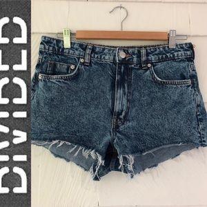 Divided Acid Wash Shorts